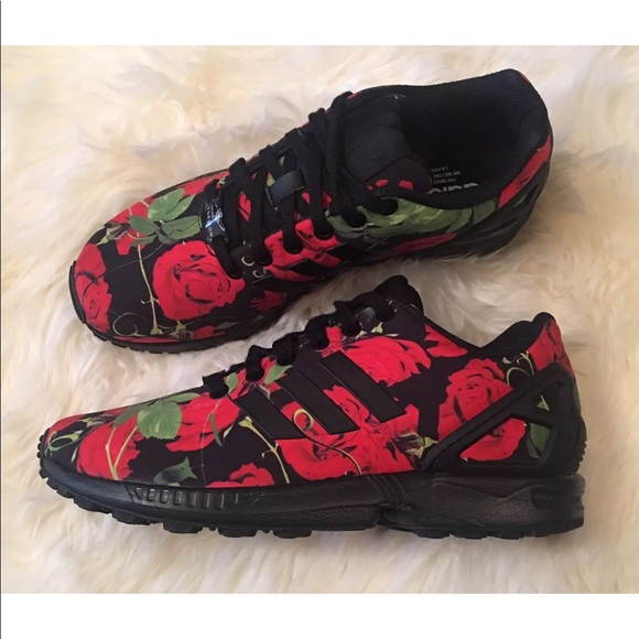 4f827b35f Adidas Torsion ZX Flux Black Red Rose Sneakers